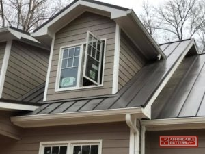New Metal Roof Angled Toward Gutters